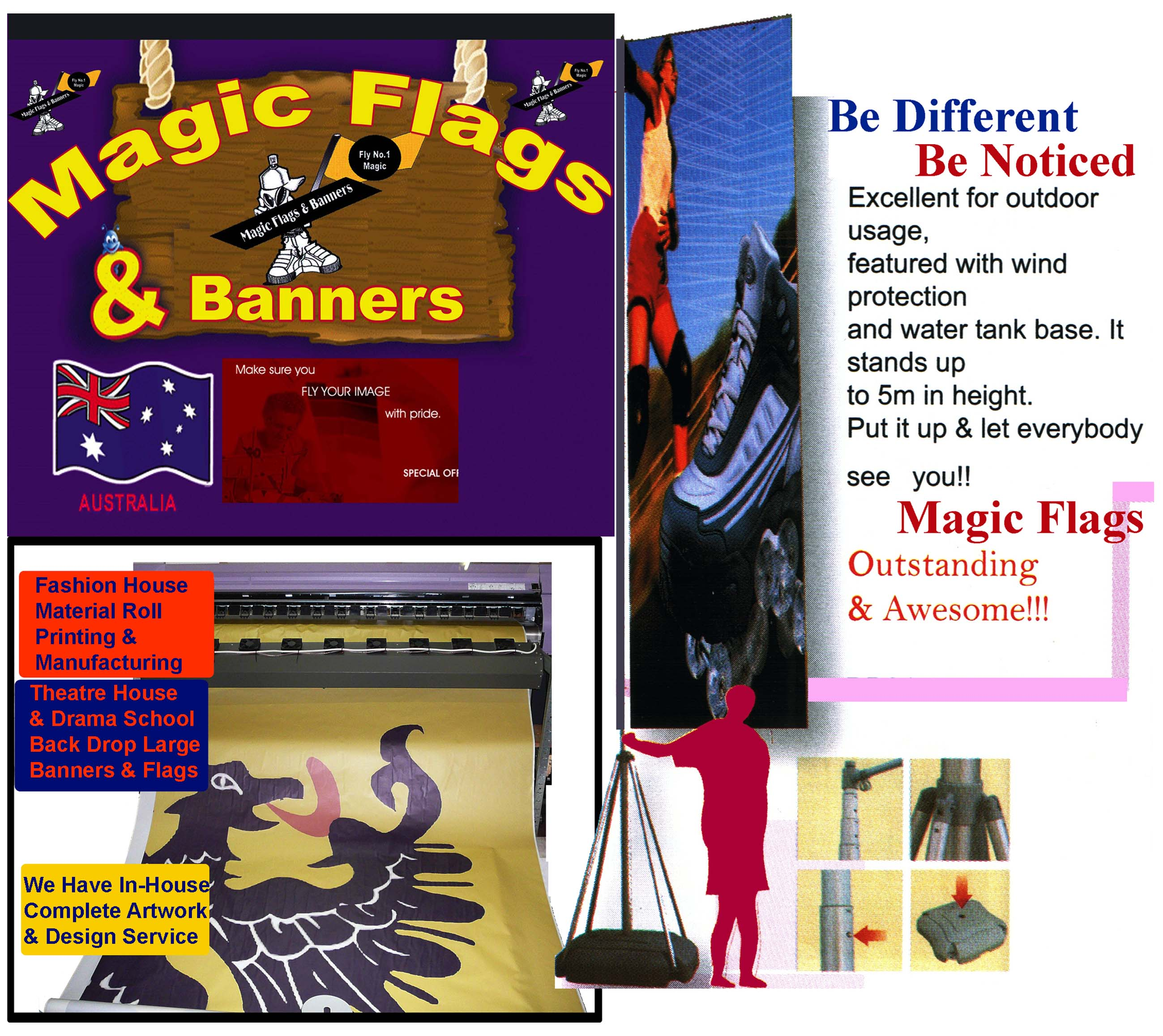 magic flags, banners, pennants